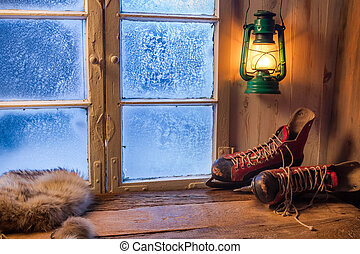 lune, varm, vinter, dag, frosty