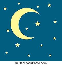 lune, vecteur, croissant, étoiles, nuit, icône