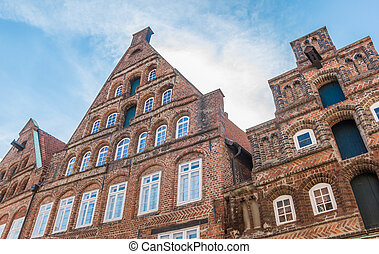 luneburg, historisch, altes , zentrieren, fassaden