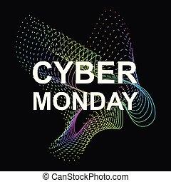 lunedì, cyber, promozionale, sale., vettore, bandiera