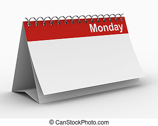 lunedì, immagine, isolato, fondo., bianco, calendario, 3d