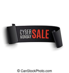 lunes, banner., cyber, sale., realista, papel, negro, curvo