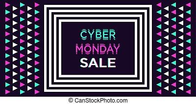 lunes, banner., cyber, venta, vector, ilustración