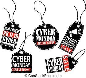 lunes, conjunto, etiqueta, cyber, vector, ilustración