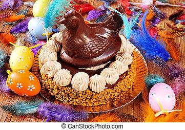 lunes, mona, De, pascua, adornado, comido, pastel, Pascua,...