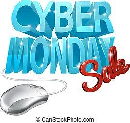 lunes, venta, cyber, señal, ratón de la computadora
