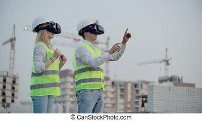 lunettes, bâtiments, imiter, construction, contrôle, grues, gens, virtuel, deux, travail, fond, réalité, interface, gestion, sous