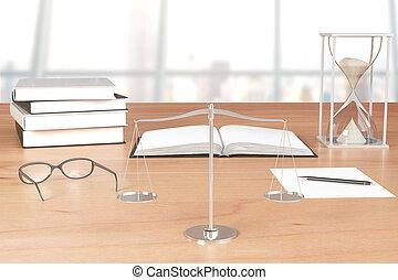 lunettes, balances, livres, table bois, sablier