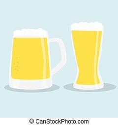 lunettes bière, deux, color.