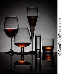 lunettes, boissons alcooliques