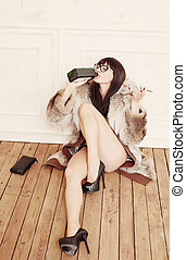 lunettes, brunette, femme, floor., séance