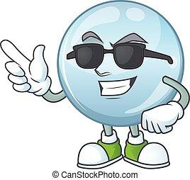 lunettes, caractère, portant noir, mignon, gouttelettes, ...