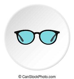 lunettes, cercle, icône