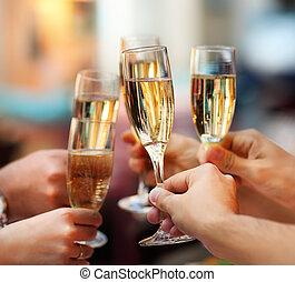 lunettes, champagne, celebration., tenue, gens