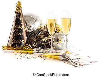 lunettes, champagne, fête, fête, chapeaux, blanc