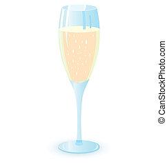 lunettes, champagne, illutration, vecteur, deux