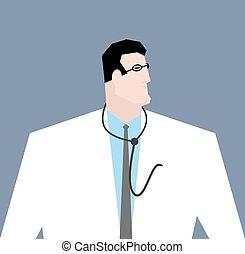 lunettes, docteur, isolé, amarrage, coat., stethoscope., ouvrier médical, blanc