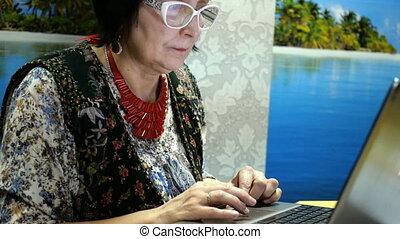lunettes, elle, séance, élégant, ethnicité, quelque chose,...
