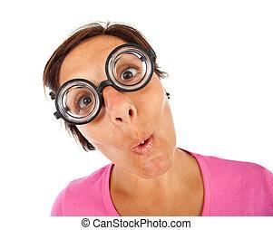 lunettes, femme, épais