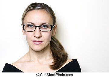 lunettes, femme, porter, beau