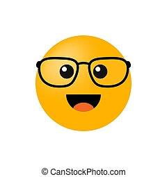 lunettes, illustration, isolé, vecteur, arrière-plan., emoticon, blanc