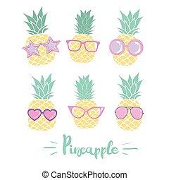 lunettes, illustration, styles., différent, ensemble, vecteur, ananas
