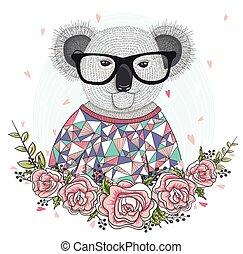 lunettes, koala, mignon, hipster
