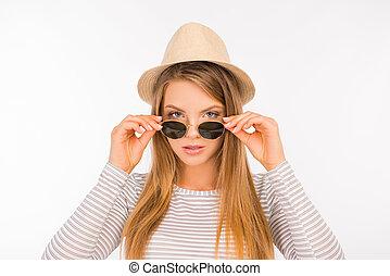 lunettes, nez, girl, elle, sexy, chapeau, mettre