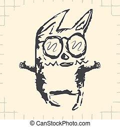 lunettes, noir, dessin animé, rigolote, chat