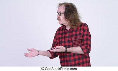 lunettes, projection, hipster, quelque chose, homme aîné, heureux