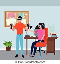 lunettes, réalité, jouer, virtuel, gens