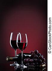 lunettes, raisin, bouteille rouge, vin