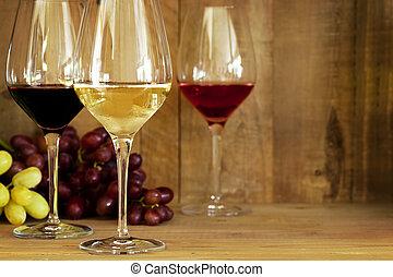 lunettes, raisins, vin