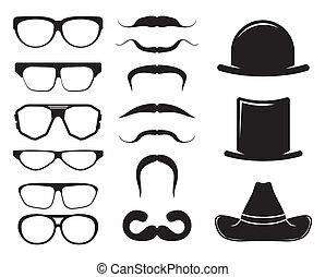 lunettes, retro, ensemble, chapeaux, moustaches