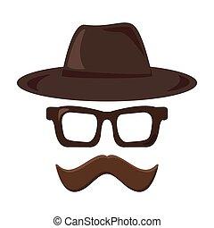 lunettes, retro, hipster, icon., moustache, style, chapeau
