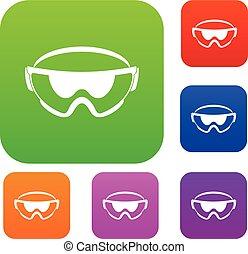 lunettes sécurité, ensemble, collection