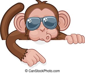 lunettes soleil, animal, dessin animé, singe, pointage, signe