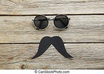 lunettes soleil, bois, gris, noir, table, moustache