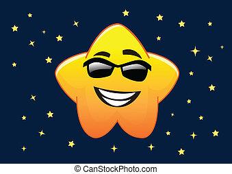 lunettes soleil, caractère, illustration, vecteur, étoile, dessin animé, heureux