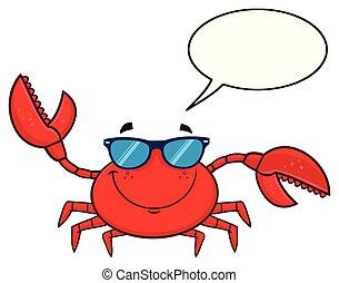 lunettes soleil, caractère, onduler, crabe, sourire, dessin animé, mascotte