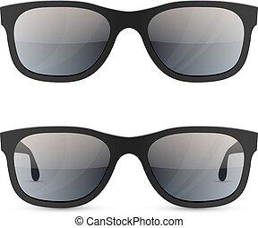 lunettes soleil, classique, isolé, arrière-plan., vecteur, gabarit, blanc
