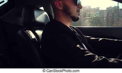 lunettes soleil, conduite, mode, voiture, jeune, noir