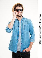 lunettes soleil, conversation, téléphone portable, homme, chapeau, heureux