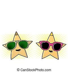 lunettes soleil, et, étoiles