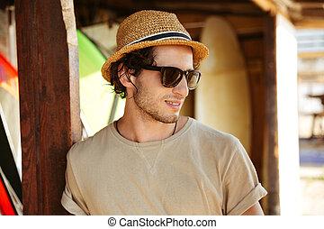 lunettes soleil, haut fin, portrait, chapeau, homme