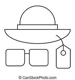 lunettes soleil, icône, chapeau, été, apparenté, vente, vecteur