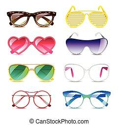lunettes soleil, icônes, vecteur, ensemble
