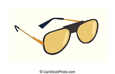 lunettes soleil, illustration., isolé, arrière-plan., vecteur, blanc