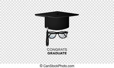 lunettes soleil, isolé, diplômé, réaliste, vecteur, arrière-plan noir, chapeau, transparent