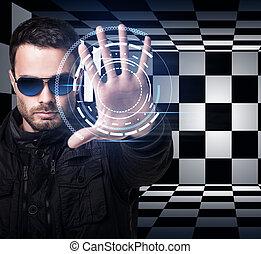 lunettes soleil, main., système, commandes, virtuel, homme